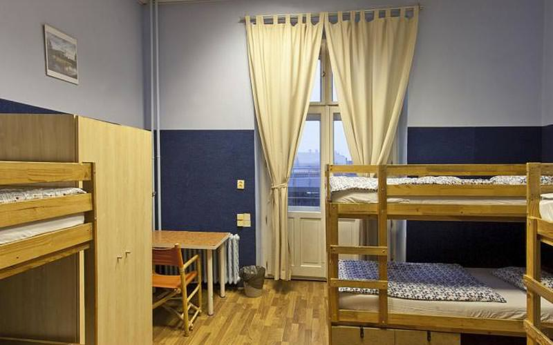A blue room with bunk beds and a large window