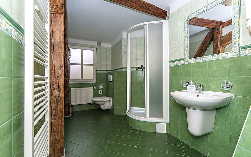 Green tiled bathroom, featuring a shower, sink and toilet