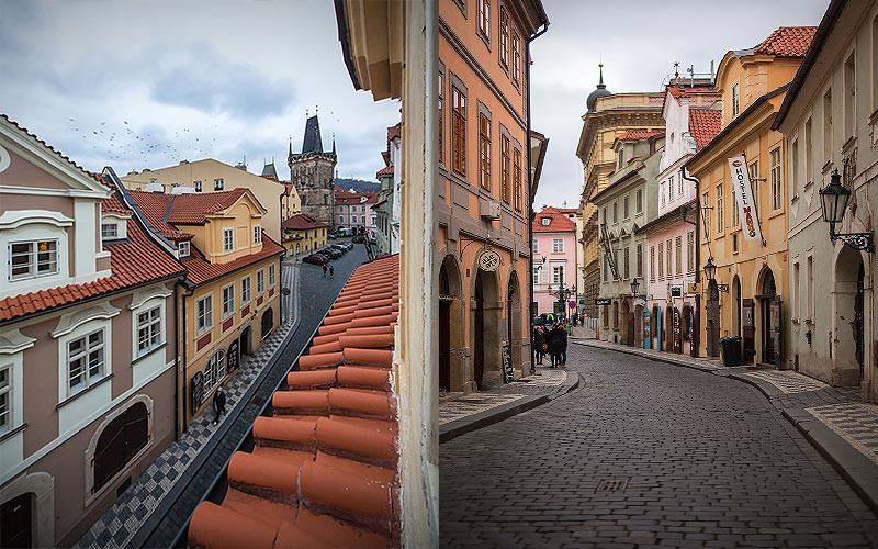 Split image of cobbled streets in Prague, featuring medieval buildings