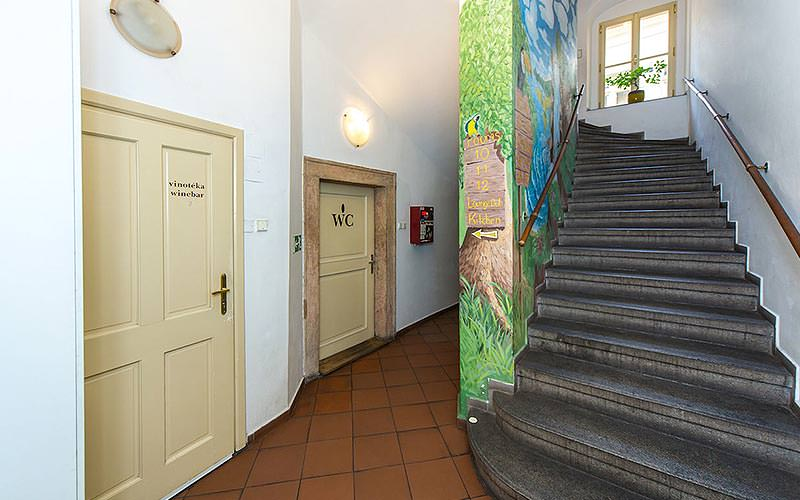 Grey stairs with fun murals painted on the walls
