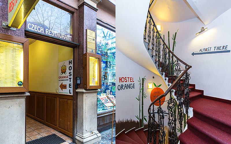 Split image of the Hostel Orange exterior, and the red sweeping staircase in a hallway with info on the walls