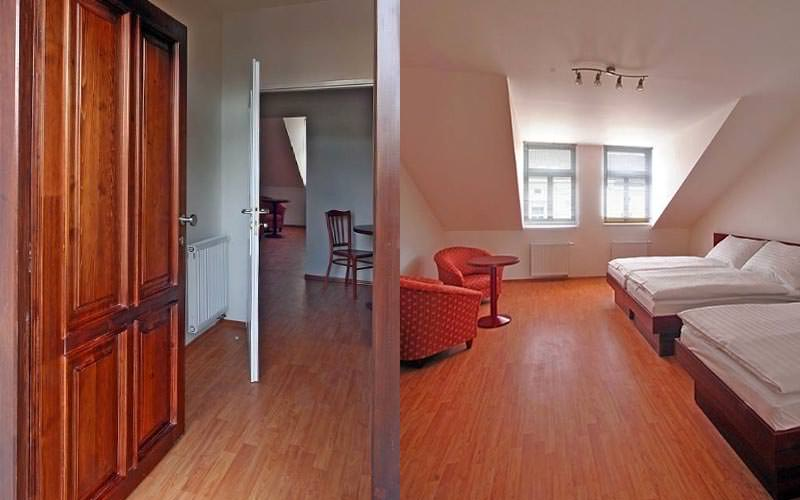 A split image of two parts of an apartment, with three double beds in a large room