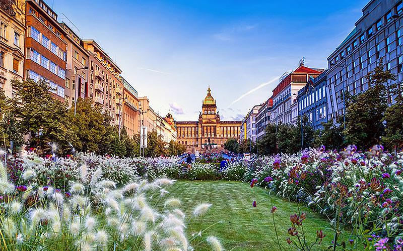 The Wenceslas Square Hotel in the background, with a gorgeous garden in front