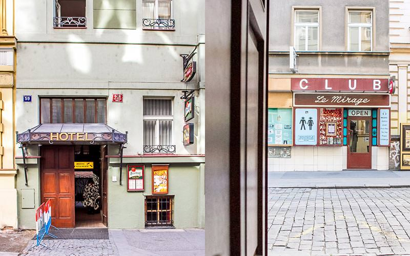 Split image of the a shop in a street in Prague, and the green building exterior of the Lublanka Aparthotel