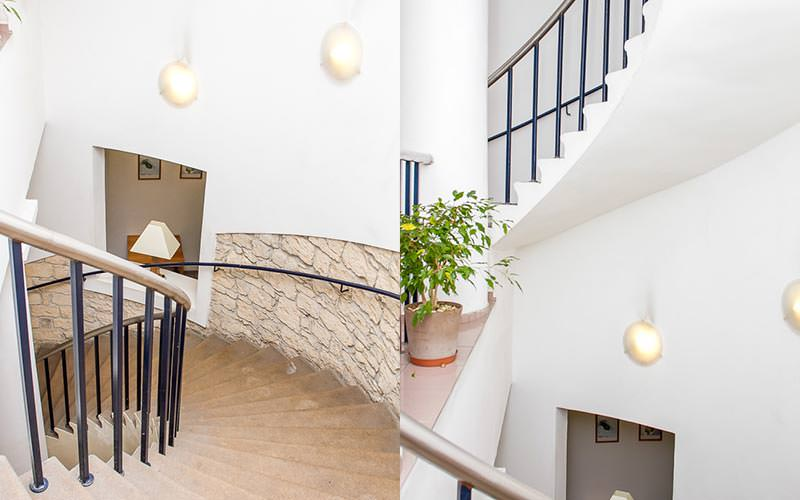 A split image of a stone staircase and balcony area of Hotel Jerome