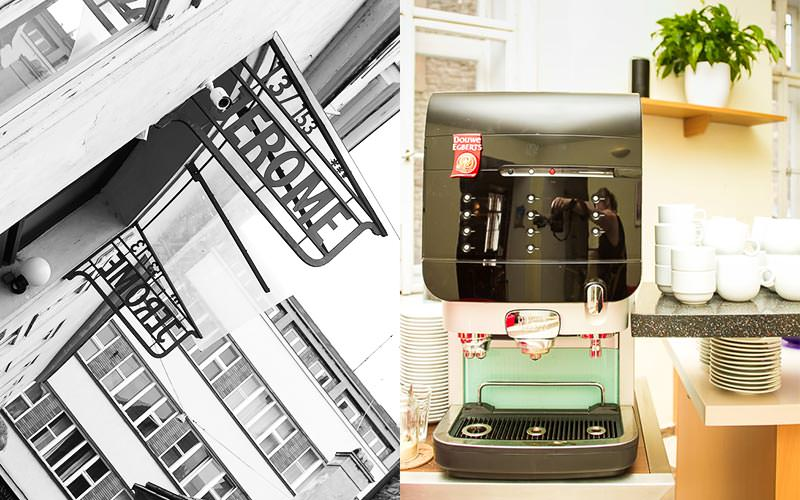 A split image of the exterior of Hotel Jerome and a coffee machine