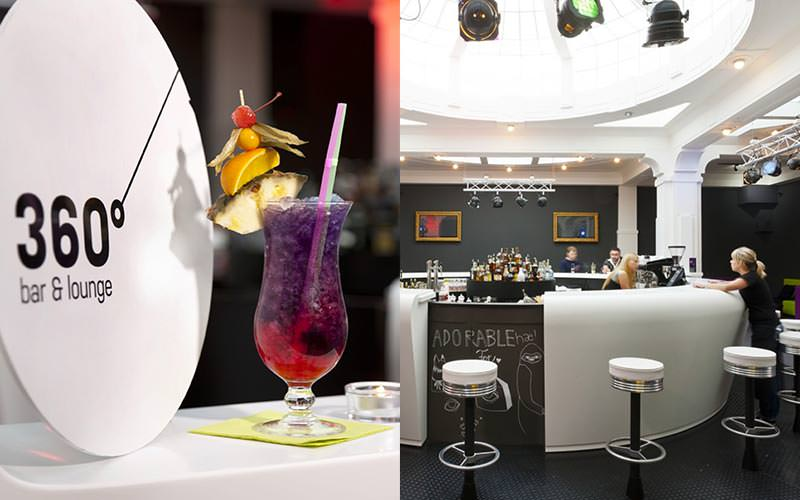 A split image of the 360 Degree bar ans lounge logo with a cocktail, and the bar itself