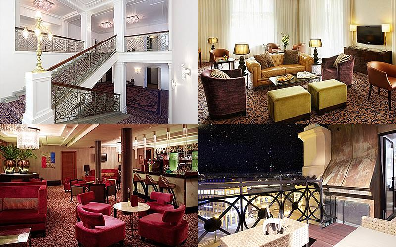 Four tiled images of seating areas and balconies within Kings Court Hotel