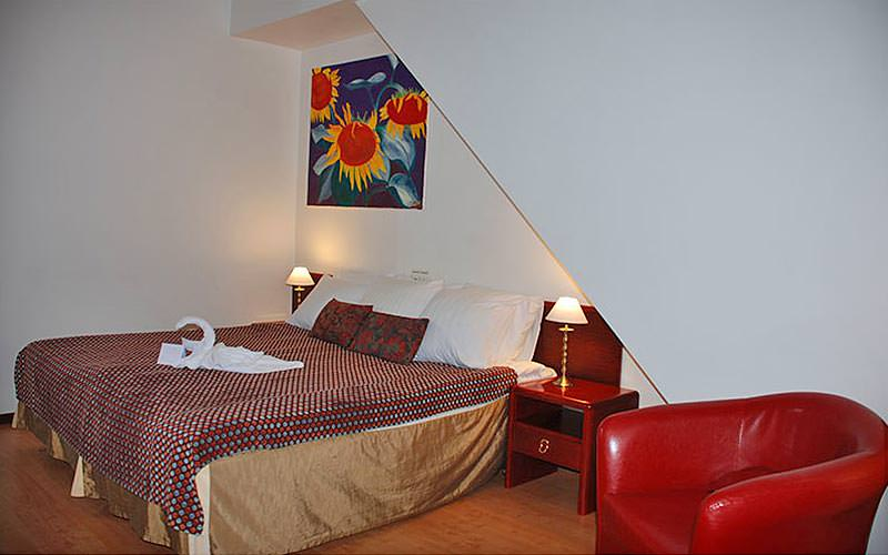 A double room with red leather armchair and a painting of flowers on the wall