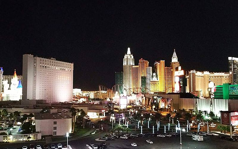 A view over the large hotels and streets of Las Vegas