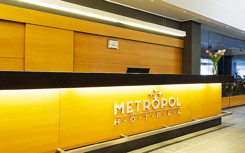 The reception desk of the Metropol Hotel