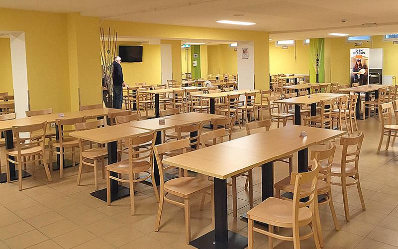 The large dining area at the A&O Stuttgart City hostel