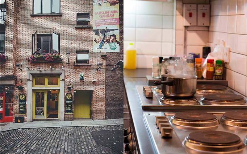 A split image of the exterior of the Barnacles hostel and a pair of stoves in a kitchen