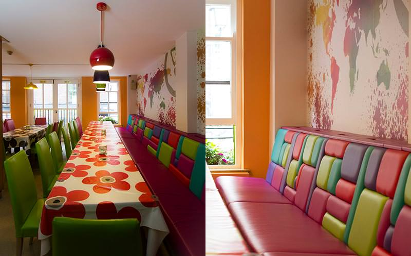 A split image of a long dining table and a long multi-coloured bench