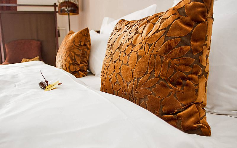 Two brown cushions on a white double bed