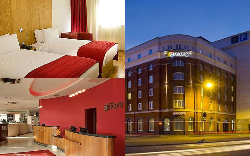 Three tiled images of a twin room, the Ramada Encore exterior and reception area
