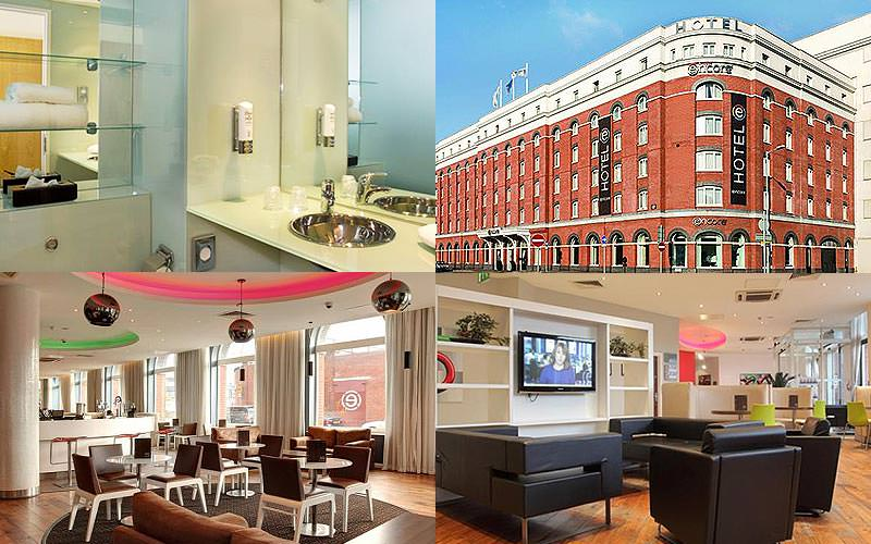Four tiled images, one of the exterior of Ramada Encore, one of a standard bathroom and two of plush seating areas inside