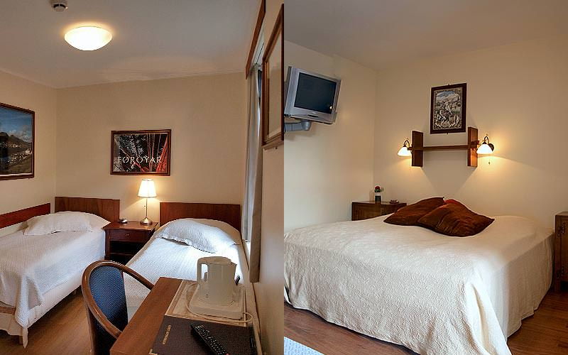 A split image of a twin and double room at Hotel Viking