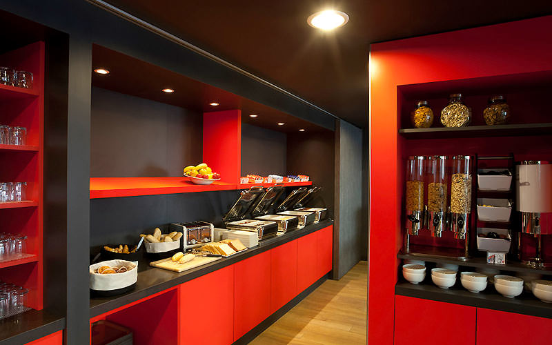 Red breakfast counters with food on top
