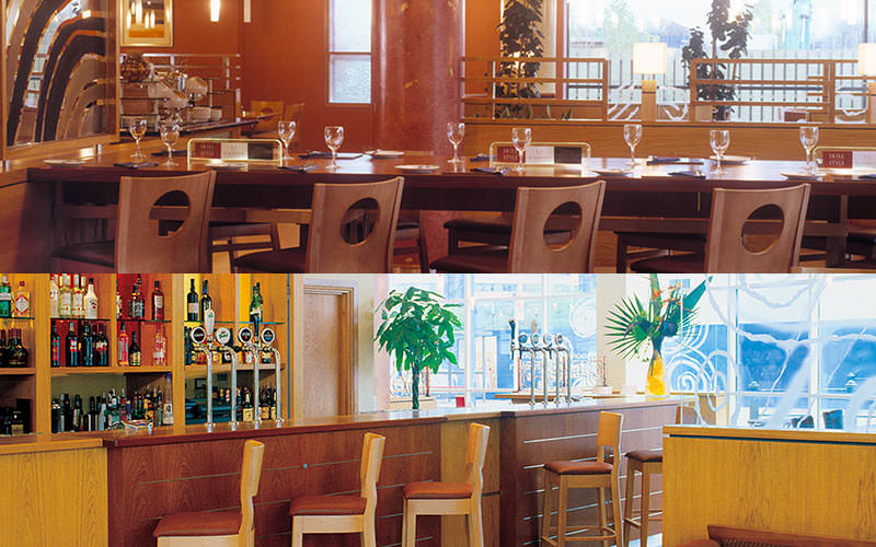 Split image of a hotel bar and bar stools, and tables set for dinner in a restaurant