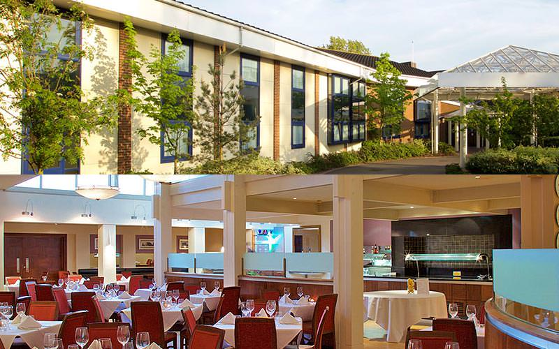 Split image of the exterior of the Hallmark Hotel, Cambridge, and tables and chairs set up for dinner in the hotel restaurant