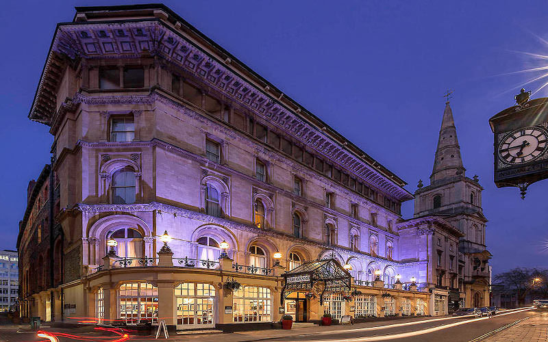 The exterior of the Mercure Bristol Grand Hotel at night
