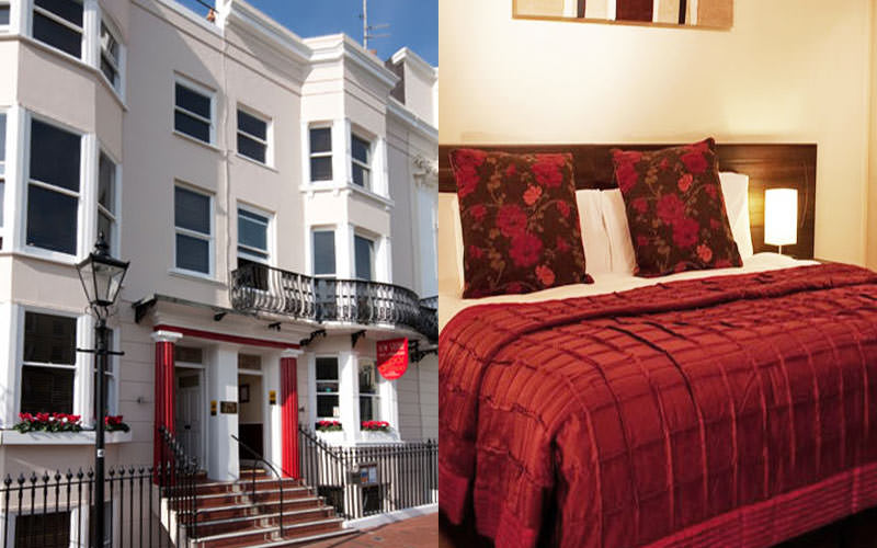 A split image of the exterior of The New Steine Hotel and a bedroom within the hotel