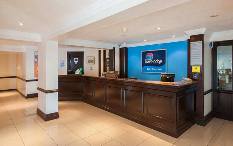 Reception desk at the Travelodge Bath Waterside