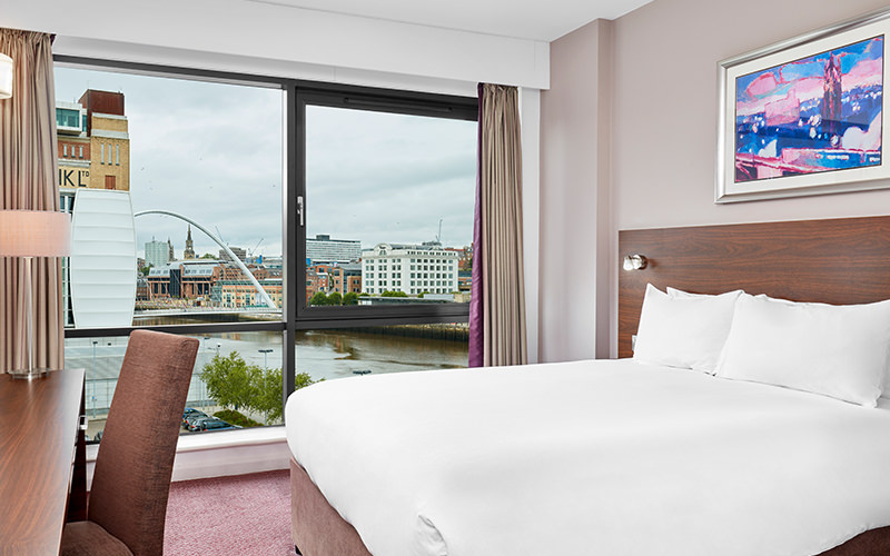 A double bedroom within Jurys Inn Gateshead Quays, with a nice view of the Tyne outside