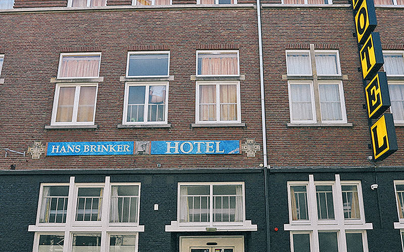 Building exterior, and signs, for the Hans Brinker Hotel, Amsterdam