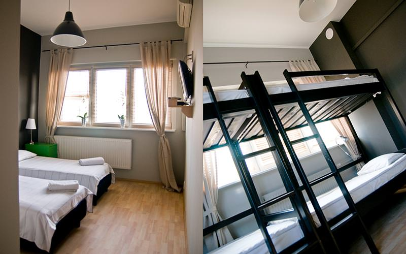 A split image of two guest rooms at Corner Hostel