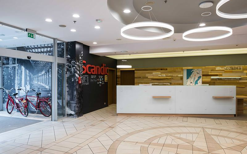 The lobby and reception area at Scandic Wroclaw