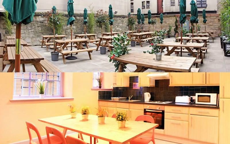 A split image of the outside courtyard and kitchen area within the hostel