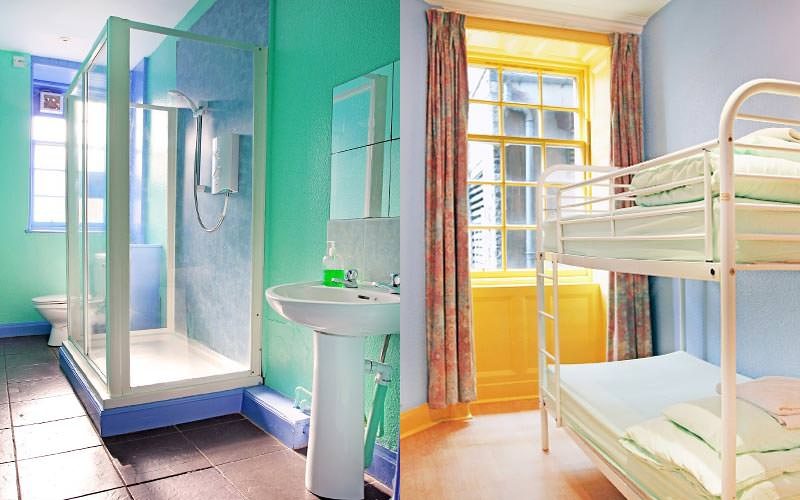 A split image of a bathroom area within the hostel and a bunk bed in the dormitory