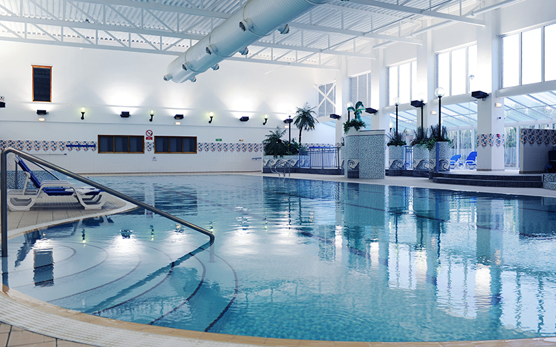 A large indoor swimming pool