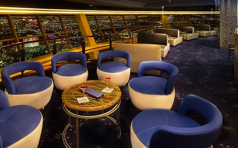 A lounge seating area at the top of the Stratosphere hotel