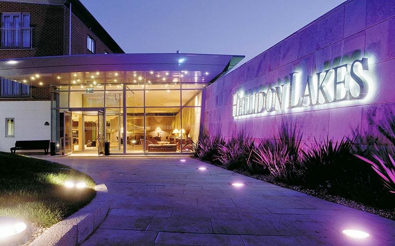 Exterior of Hellidon Lakes Golf and Spa Hotel at night
