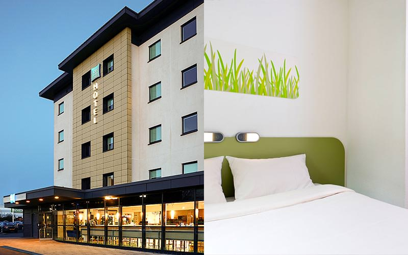 A split image of the exterior of Ibis and a green and white coloured bedroom