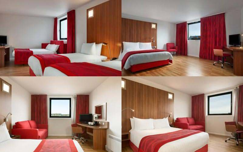 Four tiled images of some of the rooms within the Ramada in Gateshead