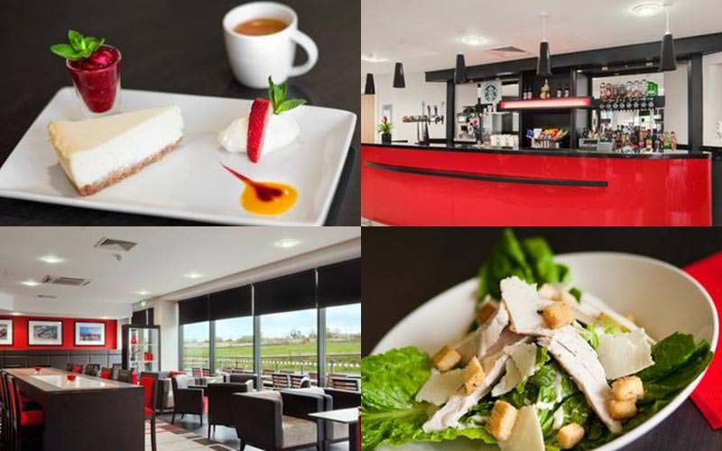 Four tiled images, two of the food within the Ramada and two of the dining area and bar area
