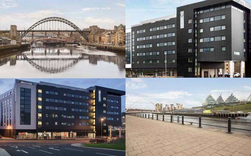 Four tiled images, two of picturesque views of the Tyne and two of the exterior of the Ramada Encore hotel