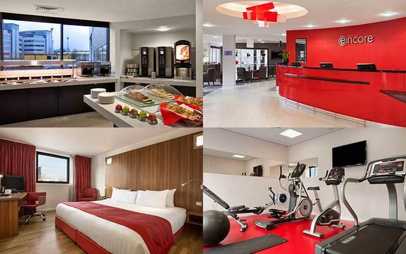 Four tiled images of the gym, a double room, the breakfast buffet and the reception area of the Ramada in Gateshead