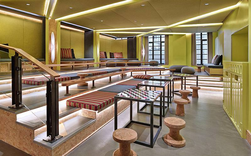 The games room at Generator London, featuring cushions and chess tables