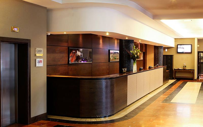 The reception area of the Jurys Inn Manchester