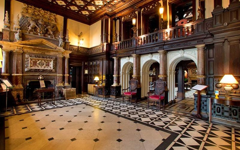 A large and historically designed hall at Crewe Hall hotel