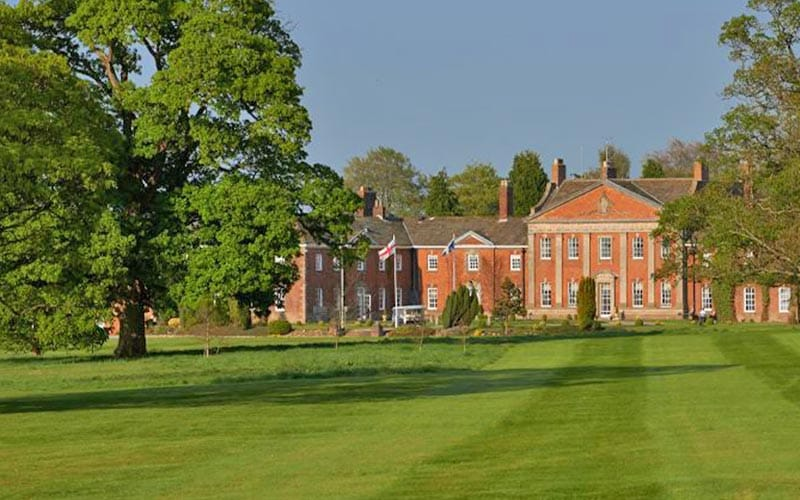 The grounds and back exterior of Mottram Hall