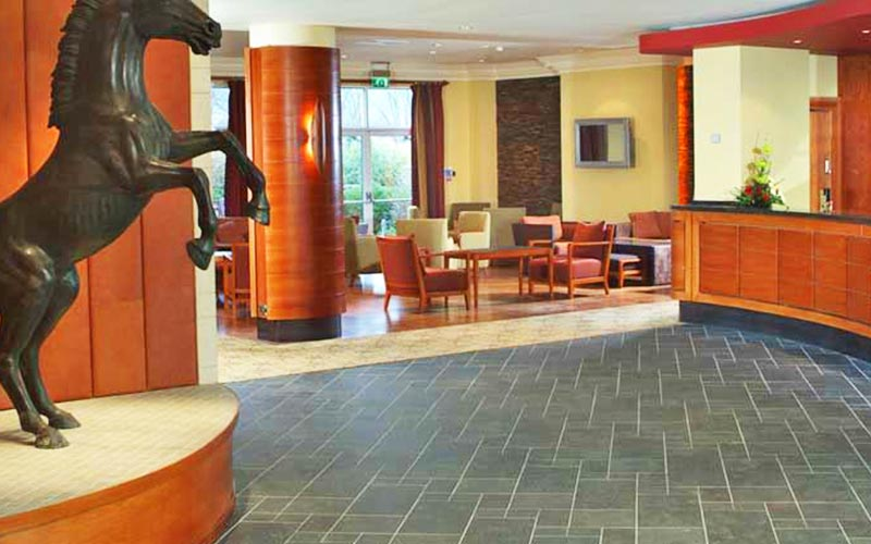 A sculpture of a horse in the reception area in The Cheltenham Chase Hotel