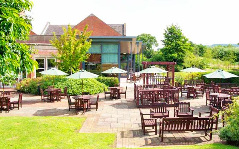 The large outdoor seating area in The Cheltenham Chase Hotel