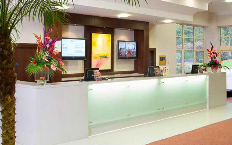 The reception desk at Ashford International Hotel