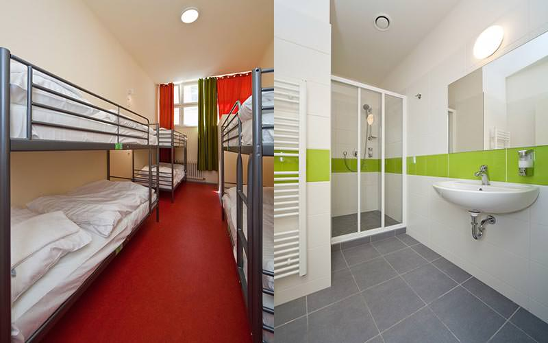Split image of bunk beds of a hostel room, and a white and green tiled bathroom